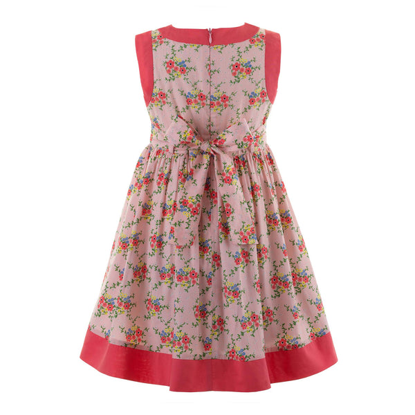 Bow Trim Floral Dress