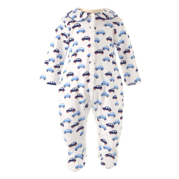 Soft and snugly, this cosy cotton babygro has a retro toy car print. With our signature peter pan collar trimmed with navy picot. Snap fasteners at front and inner leg for easy changing. Matching cardigan available. Exclusive Rachel Riley print.  100% Cotton, babygrow, sleepsuit, newborn sleepsuit, baby sleepsuit, toddler sleepsuit, one-piece footie, baby footie, one-piece footed sleeper for babies, footed onesie