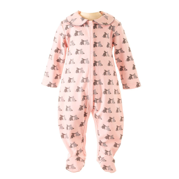 Pink Bunny Onesie for Baby Girls, pink bunny babygrow, pink punny footed onesie with collar, baby girl clothes, baby girl outfits, sleepsuit, newborn sleepsuit, baby sleepsuit, toddler sleepsuit, one-piece footie, one-piece footed sleeper for babies, footed onesie