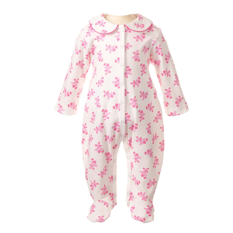 Soft and snuggly, this cozy cotton babygro has a scattered teddy print in shades of pink. With our signature peter pan collar trimmed with pink picot. Snap fasteners at front and inner leg for easy changing. babygrow, sleepsuit, newborn sleepsuit, baby sleepsuit, toddler sleepsuit, one-piece footie, baby footie, one-piece footed sleeper for babies, footed onesie, baby girl onesie