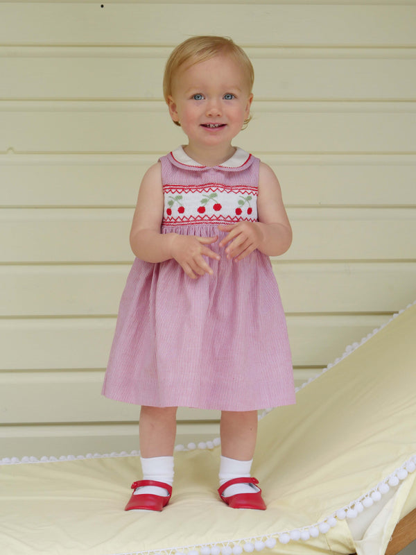 Cherry Smocked Dress & Bloomer
