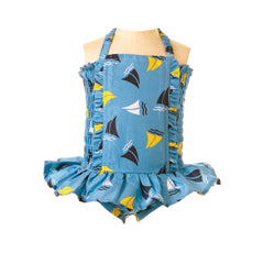 Sailboat Ruched Swimsuit