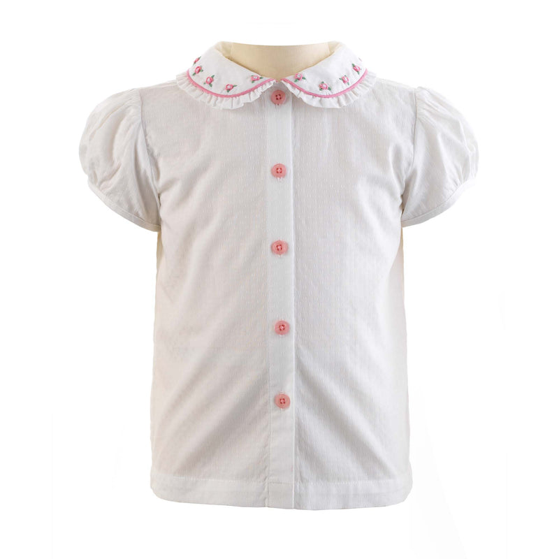 Girls Cotton Ivory and Pink Rosebud Embroidered Puff-sleeved Blouse