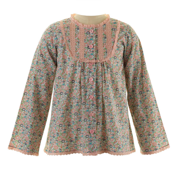 Girls Cotton Floral Print Lace Trim Winter Blouse