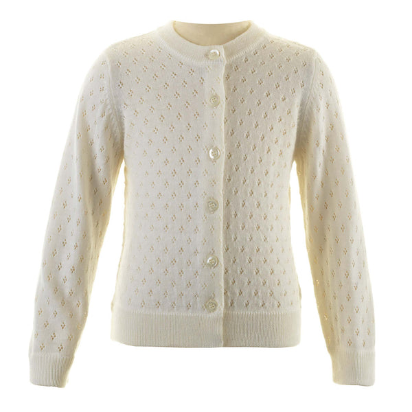 Girls Ivory Merino Wool Pointelle Cardigan