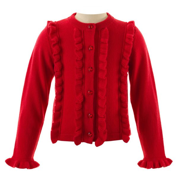 Girls Wool and Cashmere Red Sparkle Frill Winter Cardigan