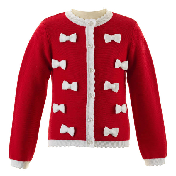 Girls Red Bow Cardigan With Scalloped Edge