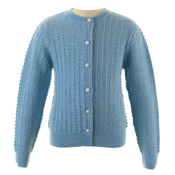 Girls Blue Merino Wool Lace Knit Cardigan With Pearl Buttons
