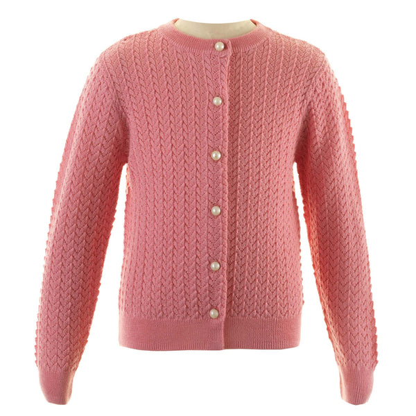 Girls Coral Pink Merino Wool Lace Cardigan With Pearl Buttons