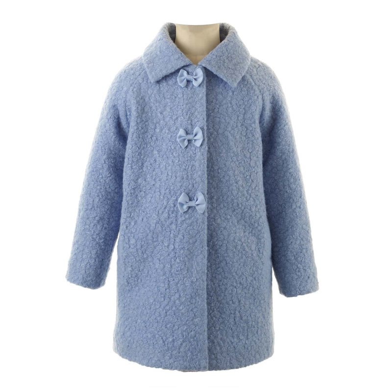 Girls Powder Blue Bow Boucle Winter Coat With Pockets