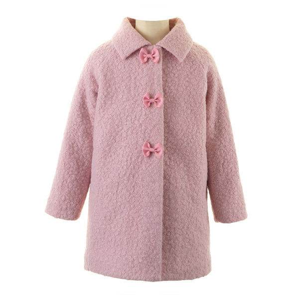 Girls Light Pink Bow Boucle Winter Coat