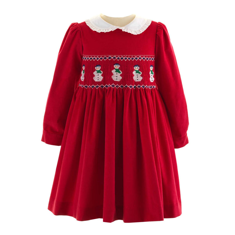 Girls Red Snowman Design Winter Holiday Smocked Dress