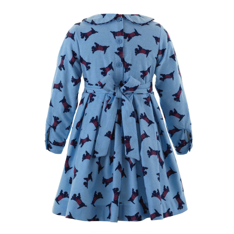 Girls Scottie Dog Winter Flannel Long Sleeved Dress