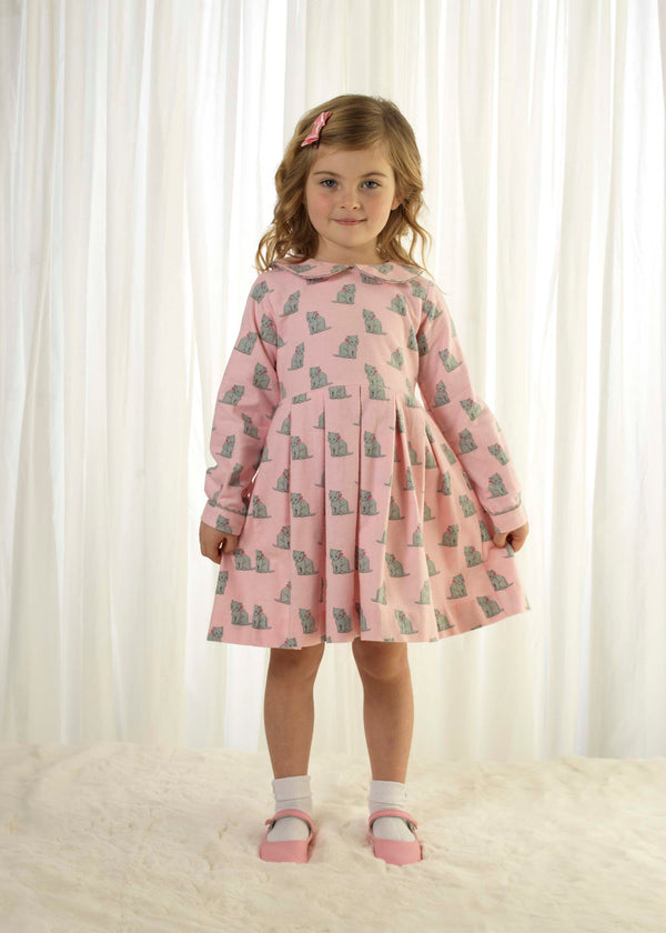 Girls Pink Kitten Print Winter Flannel Dress With Peter Pan Collar