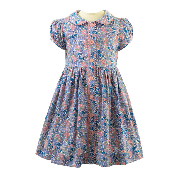 Girls Blue and Pink Winter Floral Button-front Cotton Day Dress
