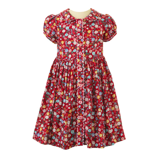 Girls Cotton Red Rose Print Button Front Winter Day Dress