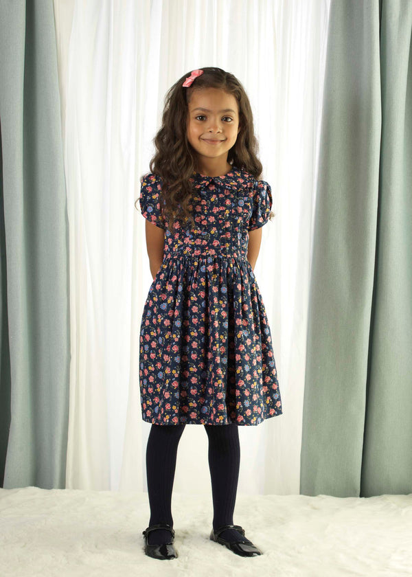 Girls Navy Floral Frill Winter Cotton Day Dress