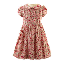 Girls Peach and Red Short Sleeved Cotton Rosebud Print Frill Dress