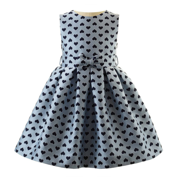 Girls Blue Heart Damask Party Dress