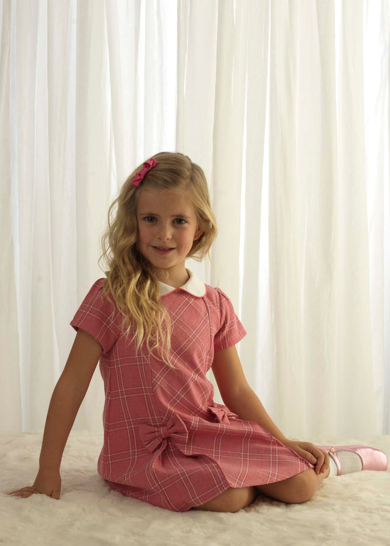 Girls Pink Flannel Short Sleeve 60's Style A-Line Checked Shift Dress With Bows