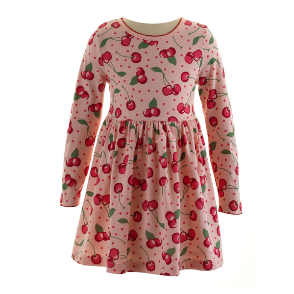 Girls Cotton Cherry Print Jersey Play Dress