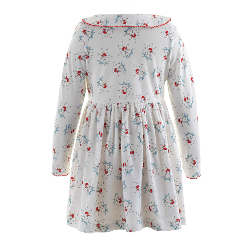 Girls Snowman Print Long Sleeved Winter Jersey Play Dress