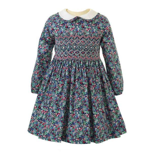 Girls Enchanted Forest Winter Floral Long Sleeved Smocked Dress