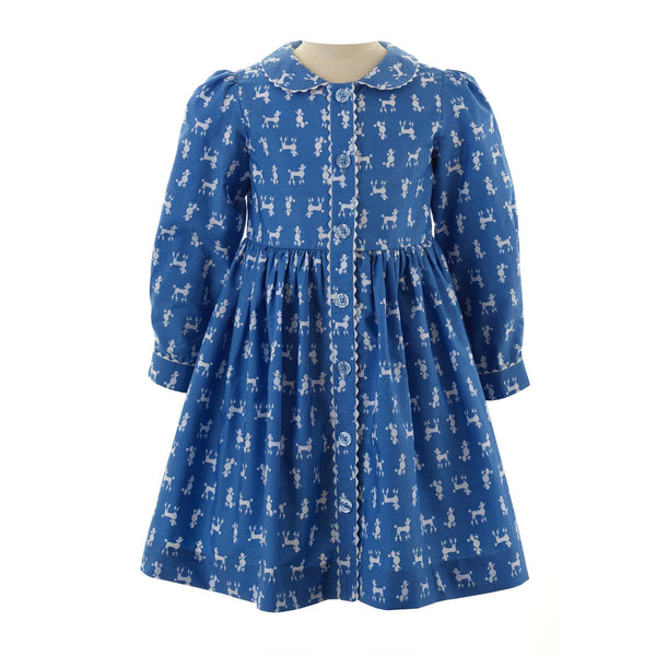 Girls Blue Poodle Print Long Sleeved Button Front Winter Dress