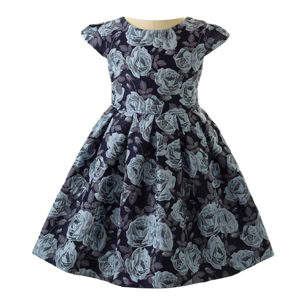 Girls Blue Rose Damask Party Dress With Cap Sleeves