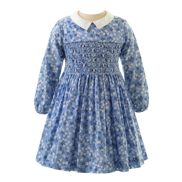 Girls Blue Long Sleeved Blossom Floral Winter Smocked Dress