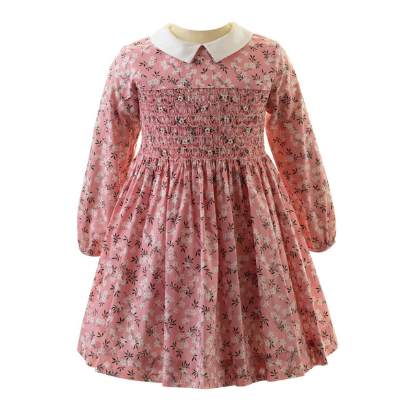 Girls Pink Floral Blossom Print Long Sleeved Smocked Dress