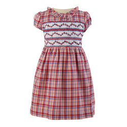 Girls Hand Embroidered Pink Checked Short Sleeved Smocked Dress