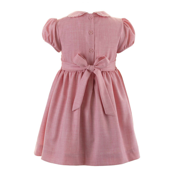Girls Pink Tweed Scalloped Trim Hand Smocked Dress With Sash Tie Back