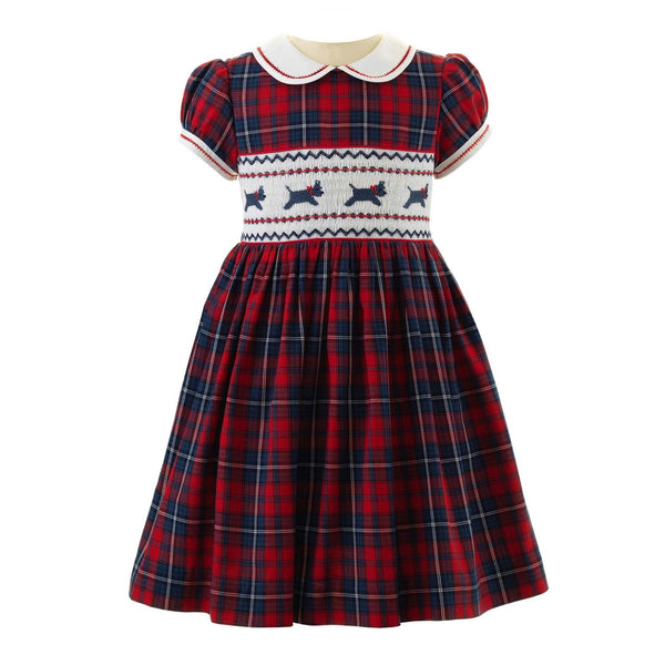 Girls Navy and Red Scottie Dog Winter Smocked Dress