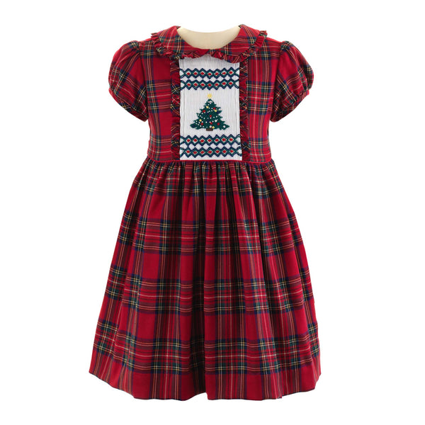 Girls Red and Green Tartan Christmas Tree Smocked Dress