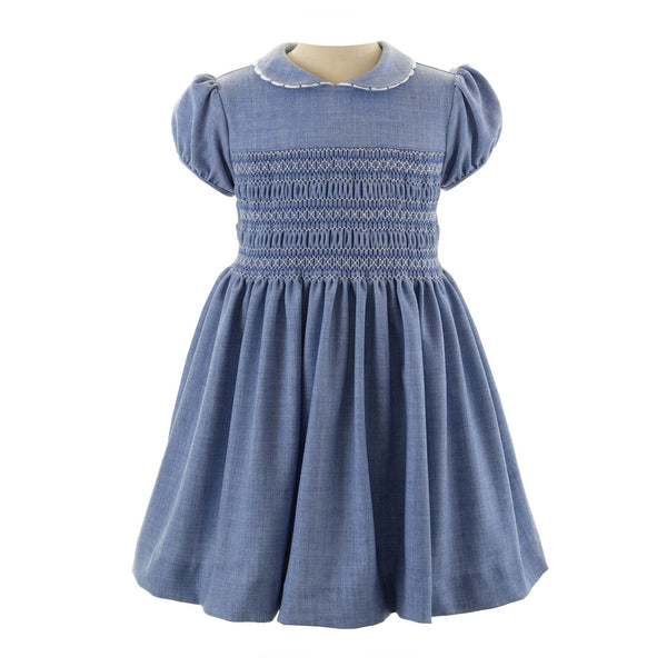 Girls Blue Tweed Scalloped Trim Winter Smocked Dress