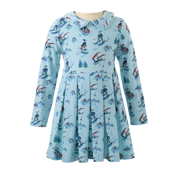 Girls Winter Snow Scene Long Sleeved Jersey Dress