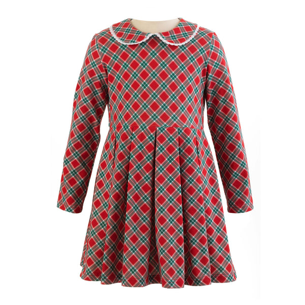 Girls Red and Green Tartan Comfy Jersey Stretch Winter Dress