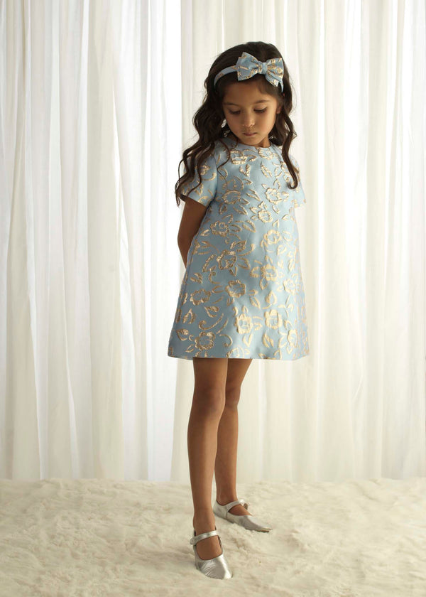 Girls Blue Sparkle Damask Shift Party Dress