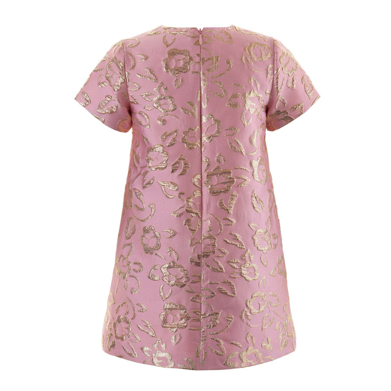 Girls Pink and Gold Sparkle Damask Shift Party Dress