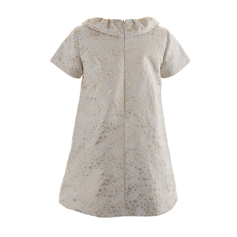 Girls Gold Star Damask Shift Party Dress