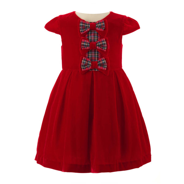 Girls Red Tartan Bow Velvet Party Dress