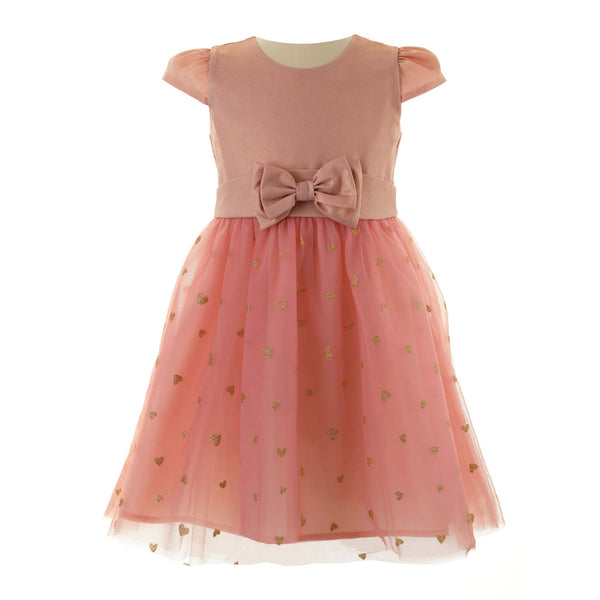 Girls Glitter Heart Pink Party Dress