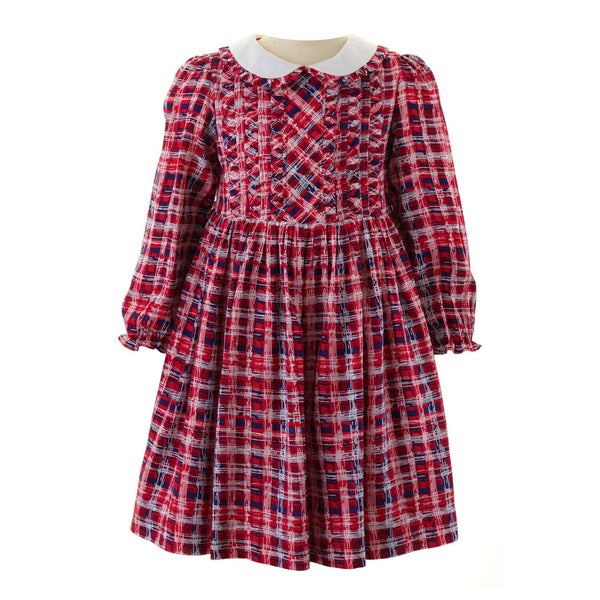 Girls Red Geometric Frill Long Sleeved Winter Dress