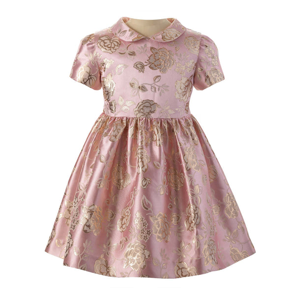 Girls Pink and Gold Shimmer Rose Damask Party Dress