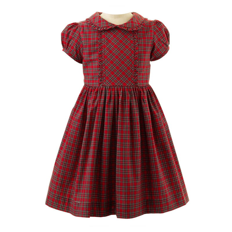 Girls Red and Green Christmas Tartan Frill Dress
