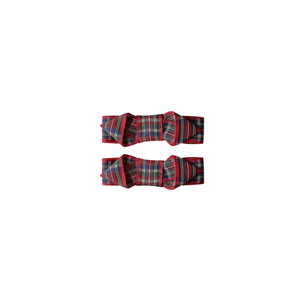 Tartan Ribbon Hairslide Set, Red