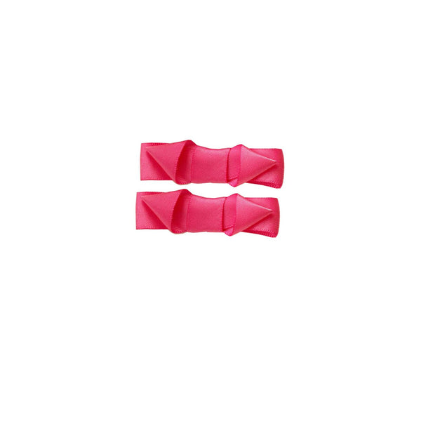 Ribbon Hairslide Set, Bright Pink