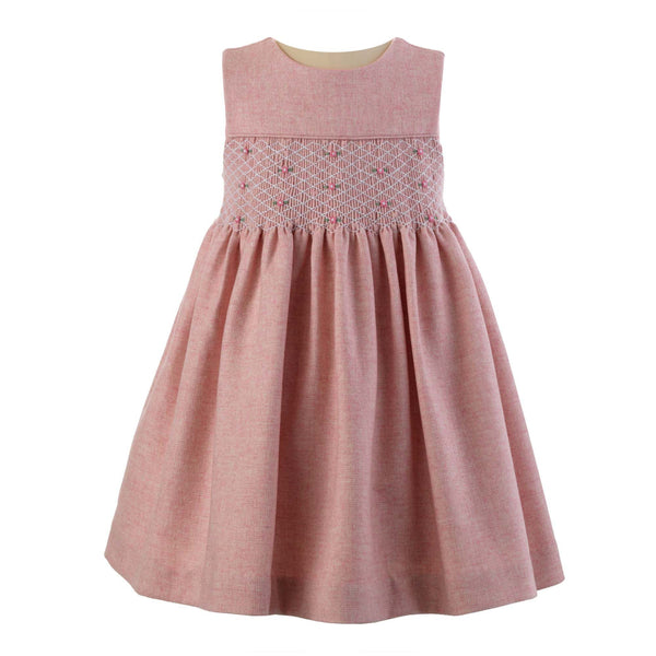 Girls Pink Tweed Rosebud Smocked Winter Dress