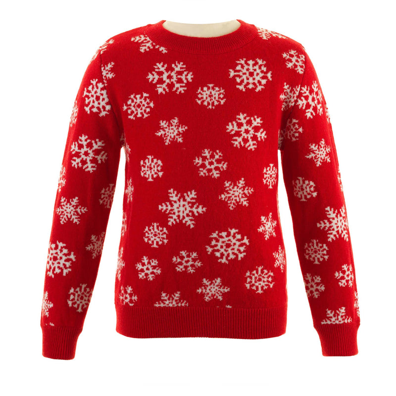 Children's Wool and Cashmere Red Crew Neck Snowflake Sweater